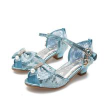 Kid Girl Jewelry Sequins Bow-knot Mesh High Heels Pumps Girls Dress Shoes