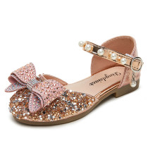 Kid Girls 3D Jewelry Pearls Bowknot Sequins Sandals Dress Shoes