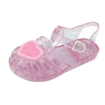 Kid Girls Sequins Heart Hollow Out Jelly Flats Shoes