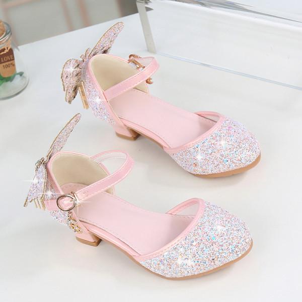 Kid Girl 3D Butterfly Gold Tassels High Heels Pumps Girls Dress Shoes