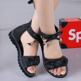Kid Girl Shining Bowknot Open-Toed Soft Bottom Sandals Shoes