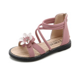 Kid Girl 3D Flower Cut Out Open-Toed Soft Bottom Sandals Shoes