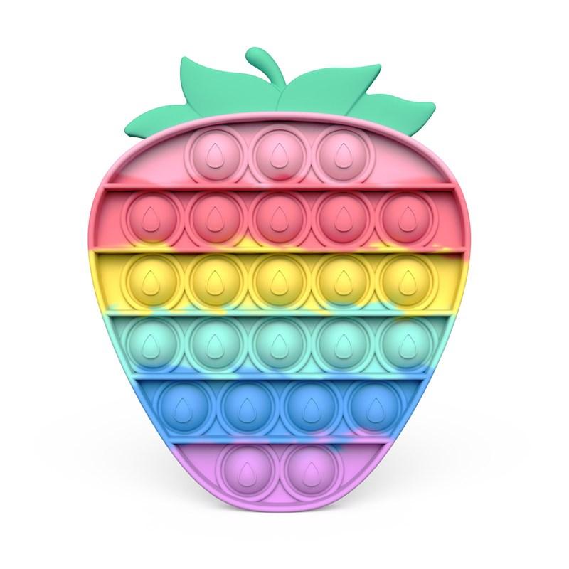 Rainbow Strawberry Pop It Fidget Toy Push Pop Bubble Sensory Fidget Toy Stress Relief For Kids & Adult