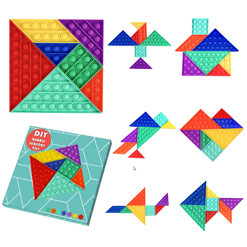Rainbow Tangram Puzzle Pop It Fidget Toy Push Pop Bubble Sensory Fidget Toy Stress Relief For Kids & Adult
