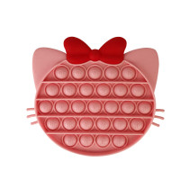 Pink Cute Bowknot Cat Pop It Fidget Toy Push Pop Bubble Sensory Fidget Toy Stress Relief For Kids & Adult