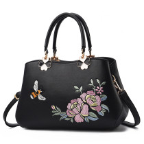 Women Embroidered Flowers Bee Crossbody Shoulder Large Tote Handbags