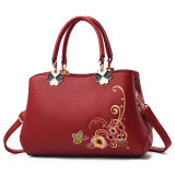 Women Embroidered Flowers Crossbody Shoulder Large Tote Handbags