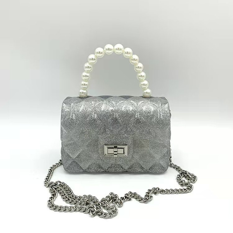 Women Crossbody Pearl Handle Quilted Square Handbags