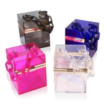 Women Crossbody Clear Chain Box Cosmetic Rectangle Handbags