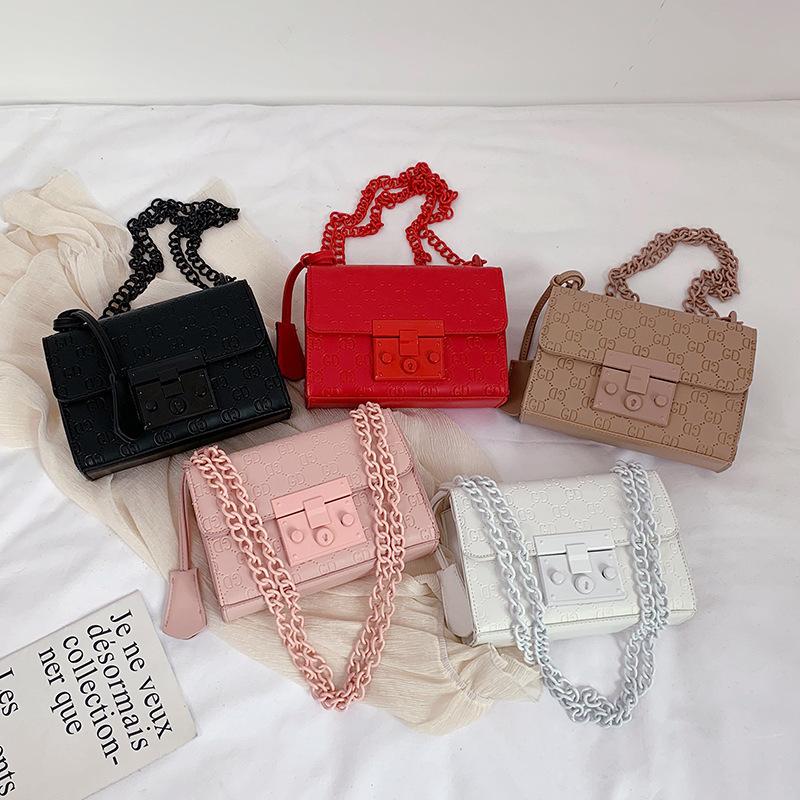 Women Crossbody Solid Color Chain Pattern Fashion Square Handbags