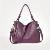 Women Shoulder Strap Bags Solid Color Pendant Large Tote Bags