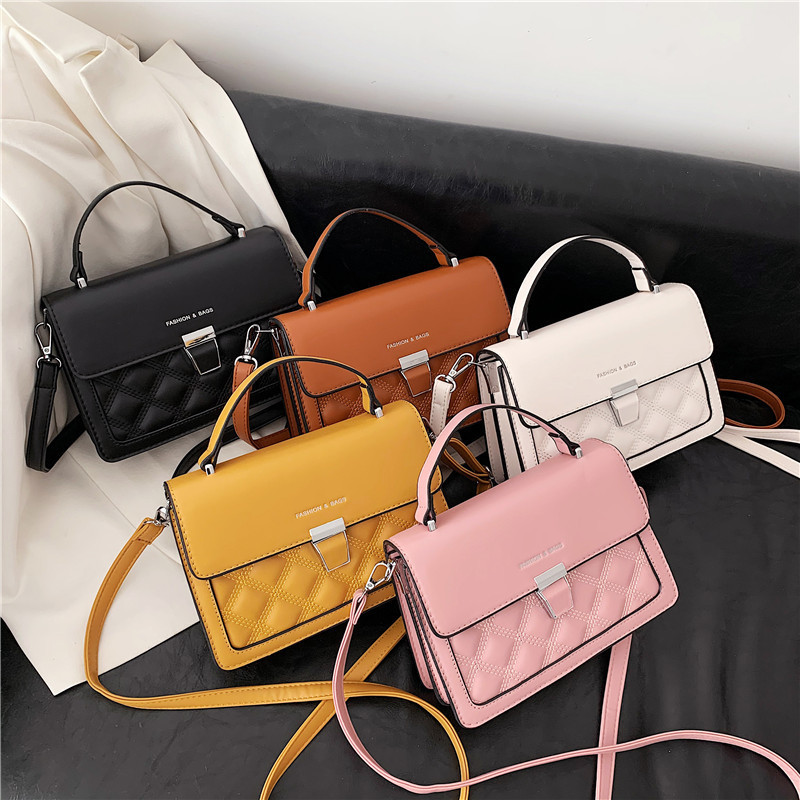 Women Crossbody Solid Color Quilted Wide Strap Square Handbags