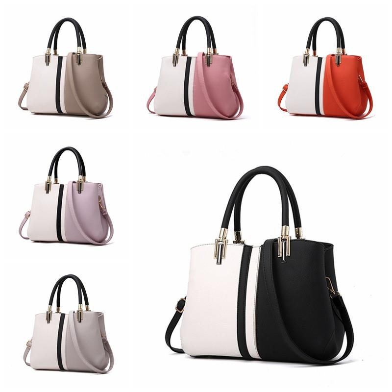Women Shoulder Strap Bags Color Matching Large Tote Handbags