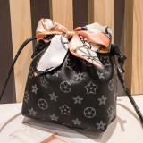 Women Shoulder Bags Scarf Drawstring Printing Bucket Small Bags