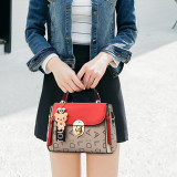 Women Plaid Cute Bear Pendant Crossbody Shoulder Square Bag