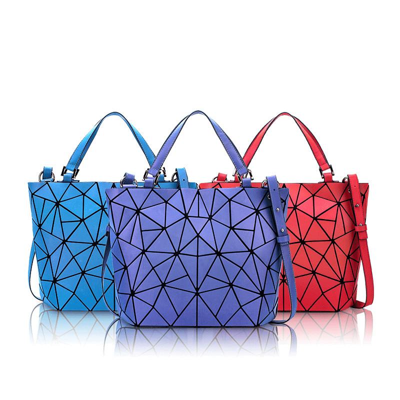 Women Crossebody Luminous Holographic Geometric Bucket Large Tote Handbags
