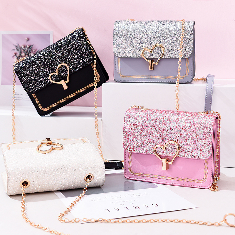 Women Crossbody Glitter Sequins Buckle Square Handbags