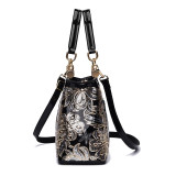Women Crossbody Embroidery Sequins Leather Luxury Large Tote Bags
