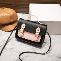 Women Crossbody Color Block PU Square Handbags