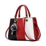 Women 3 Colors Matching Pompom Pendant Handbag Crossbody Large Tote Bags