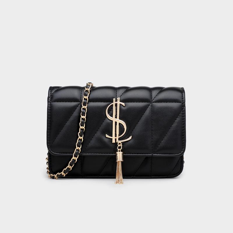 Women Crossbody Lattice Solid Color Pendant Square Handbags