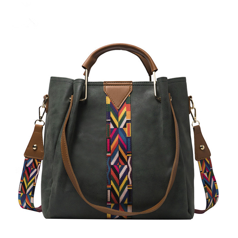 Women Crossbody Wide Colorful Strap Large Tote Bags