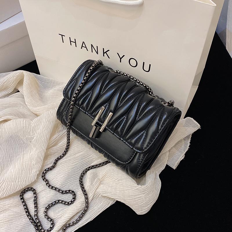 Women Crossbody Lattice Solid Color Square Handbags