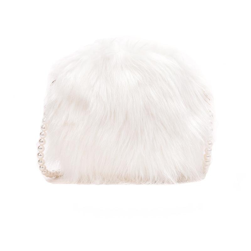 Women Crossbody Pearl Chain Faux Fur Fuzzy Shoulder Bags