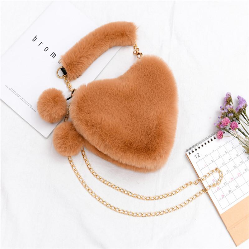 Women Crossbody Plush Fluffy Heart-shaped Ball Handbags
