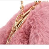 Women Crossbody Clip Plush Rabbit Ear Handbag