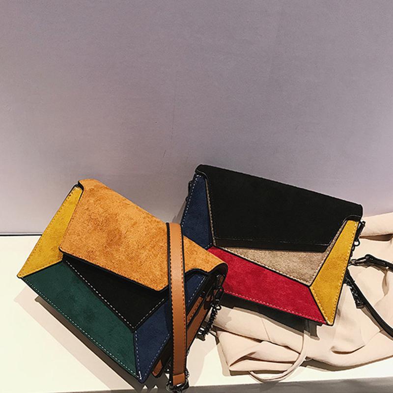 Women Suede Color Matching Square Crossbody Handbags