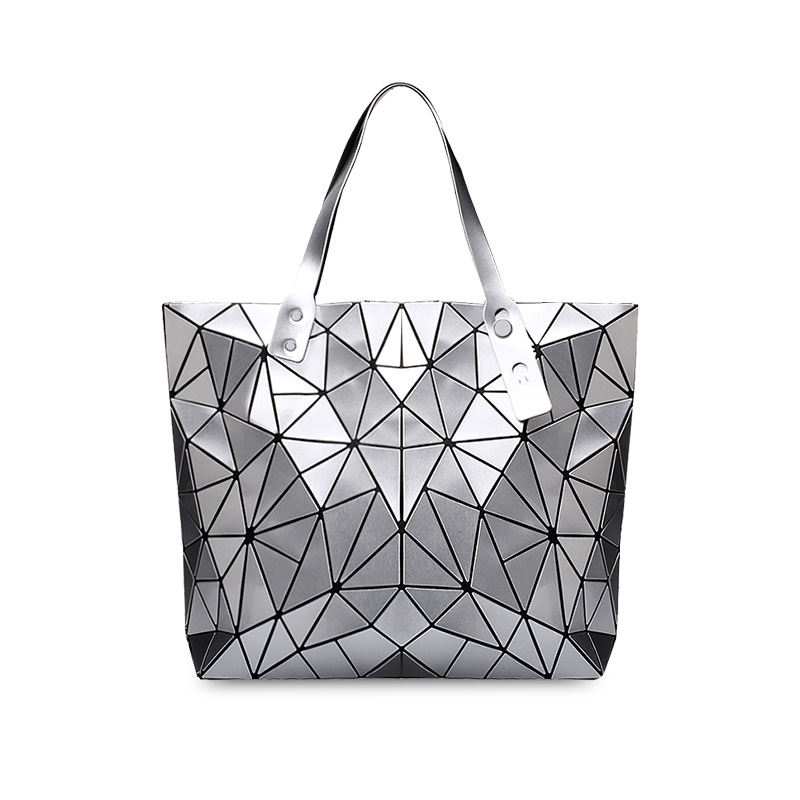 Women Shoulder Luminous Holographic Geometric Large Tote Handbags