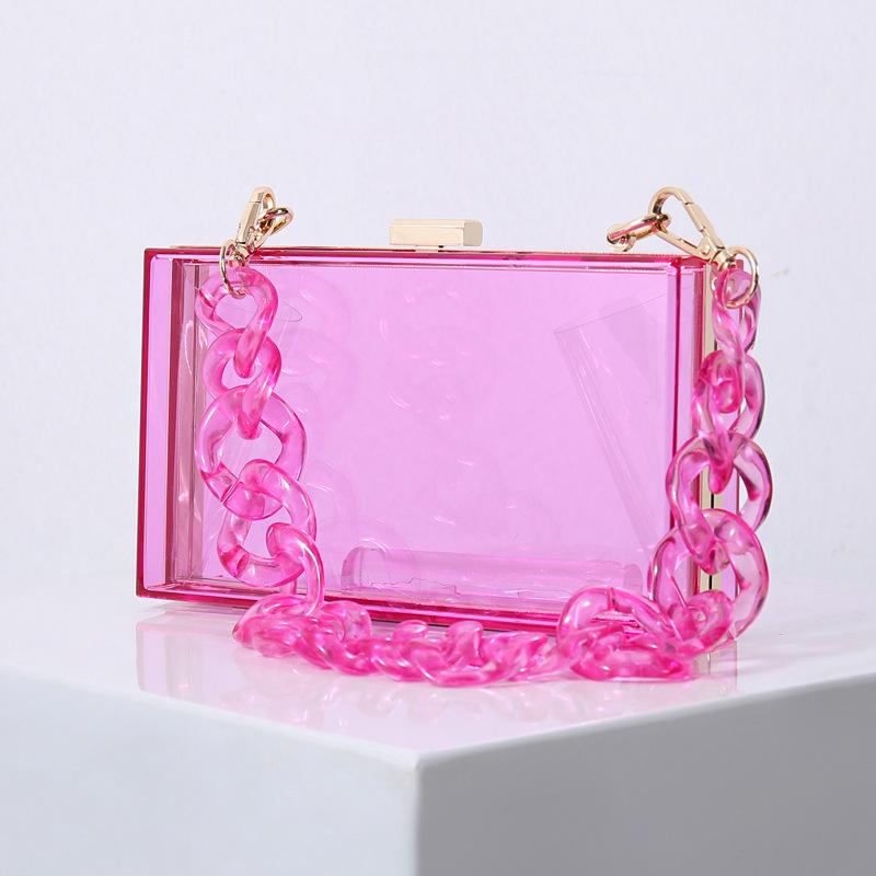 Women Crossbody Clear Transparent Chain Box Square Handbags