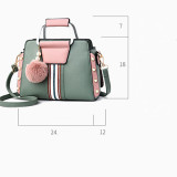 Women Pearls Pompom Color Matching Crossbody Large Tote Bags