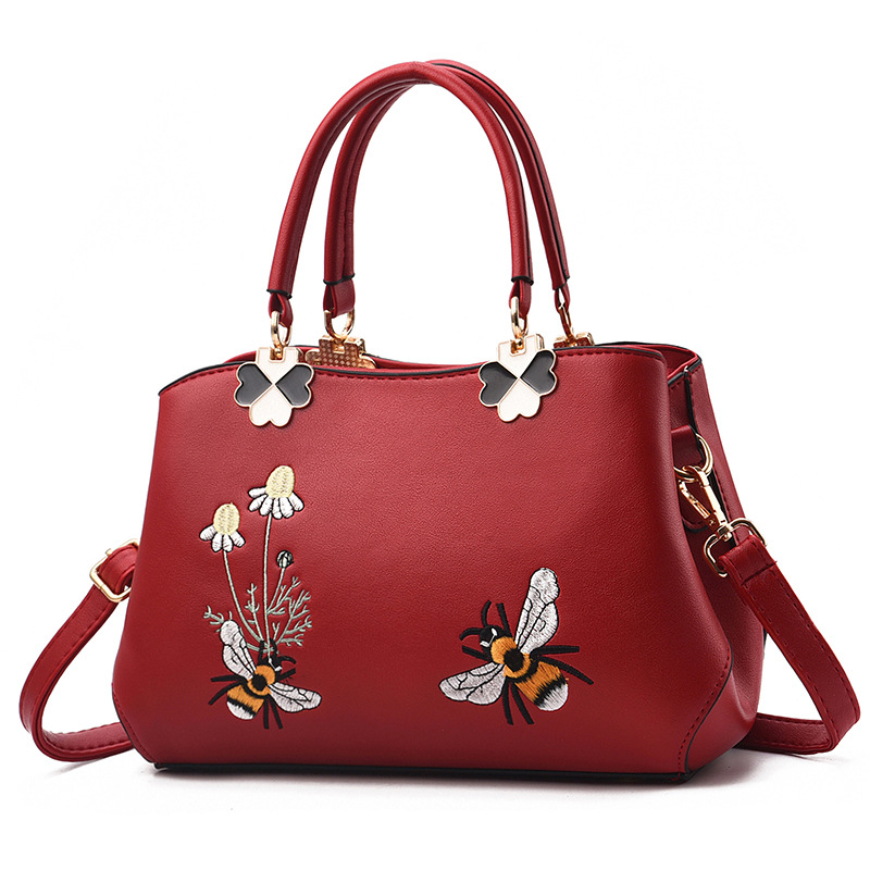 Women Embroidered Bees Crossbody Shoulder Large Tote Handbags