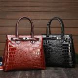 Women Crossbody Retro Bright Leather Crocodile Pattern Tote Capacity Handbags