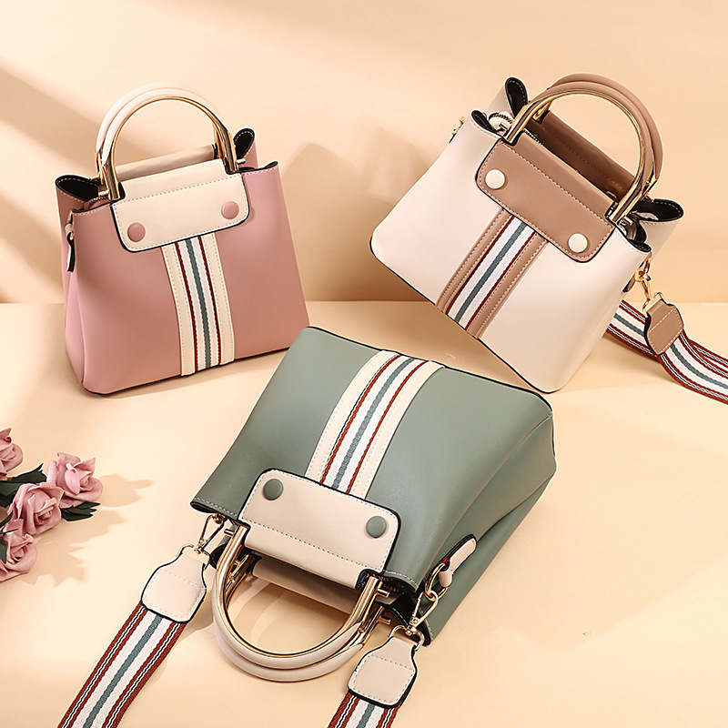 Women Shoulder Bags Striped Panel Large Tote Bags