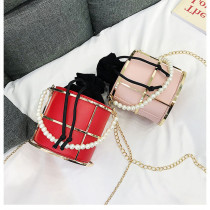 Women Crossbody Bucket Shaped Pearl Chain Party Handbags