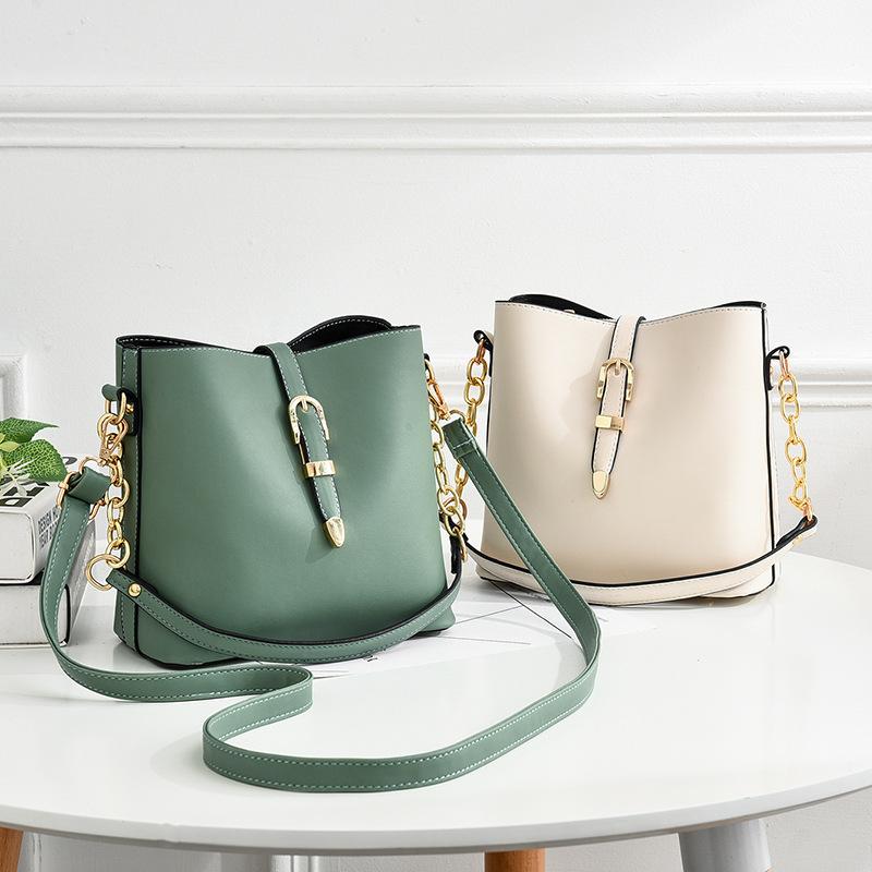 Women Shoulder Bucket Bags Crossbody Solid Color Large Tote Handbags
