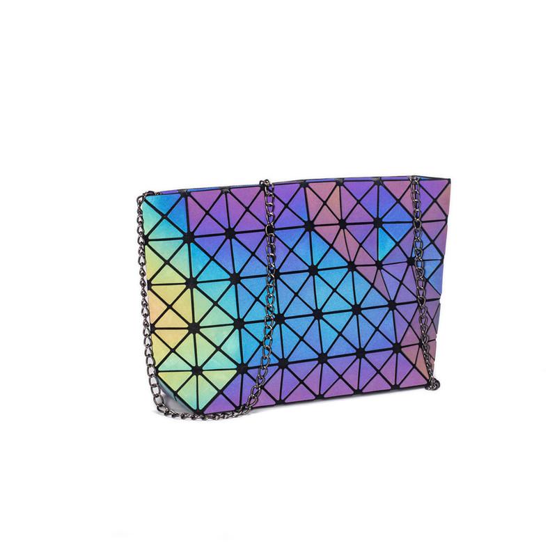 Women Luminous Holographic Geometric Chain Bucket Handbags