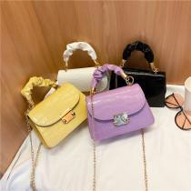 Women Crossbody Alligator Pattern Solid Color Square Handbags