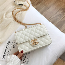 Women Crossbody Lattice Solid Color Pearl Pendant Square Handbags