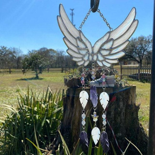 Angel Wing Wind Chime Stained Glass Tassels Hanging Pendant Home Decoration Creative Gifts