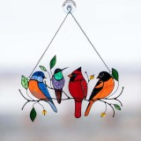 Multicolor Birds Stained Glass Hanging Pendant Home Decoration Creative Gifts