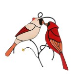 Stained Glass Cardinals In Love For Windows Hanging Home Decoration Creative Gifts