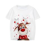 KidsHoo Exclusive Design Cute White Christmas Deer T-shirt and Red Plaids Short Pants Christmas Family Matching Sleepwear Pajamas Sets