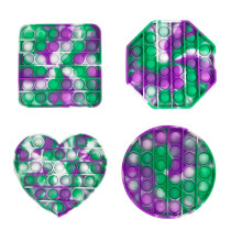 4PCS Rainbow Tie-dye Geometric Figure Shape Pop It Fidget Toy Push Pop Bubble Sensory Fidget Toy Stress Relief For Kids & Adult