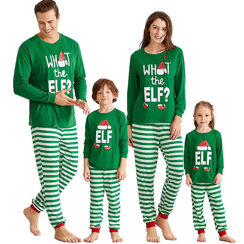Christmas Family Matching Sleepwear Pajamas Sets ELF Slogan Christmas Hat Top and Stripes Pants