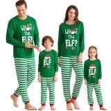 Christmas Family Matching Sleepwear Pajamas Sets ELF Slogan Christmas Hat Top and Stripes Pants