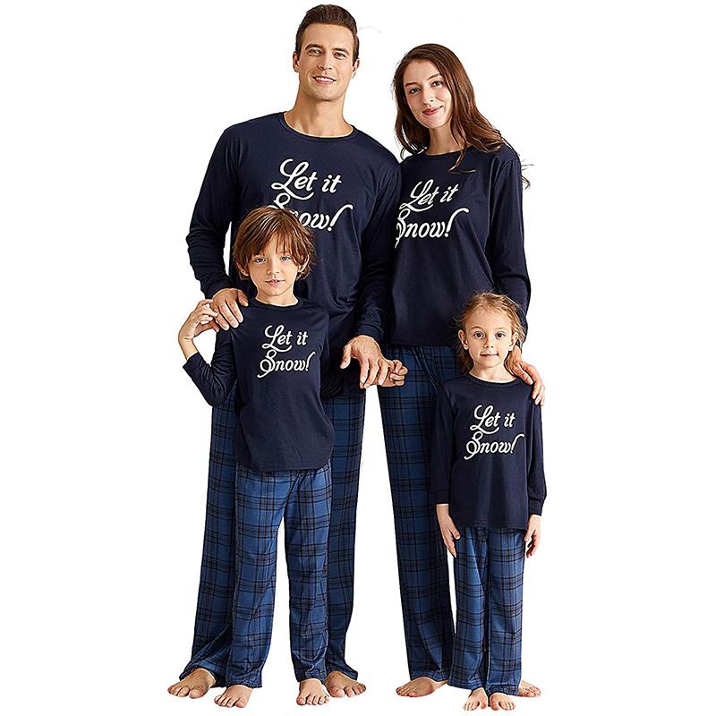 Christmas Family Matching Pajamas Christmas Let It Know Slogan Top and Navy Plaid Pant
